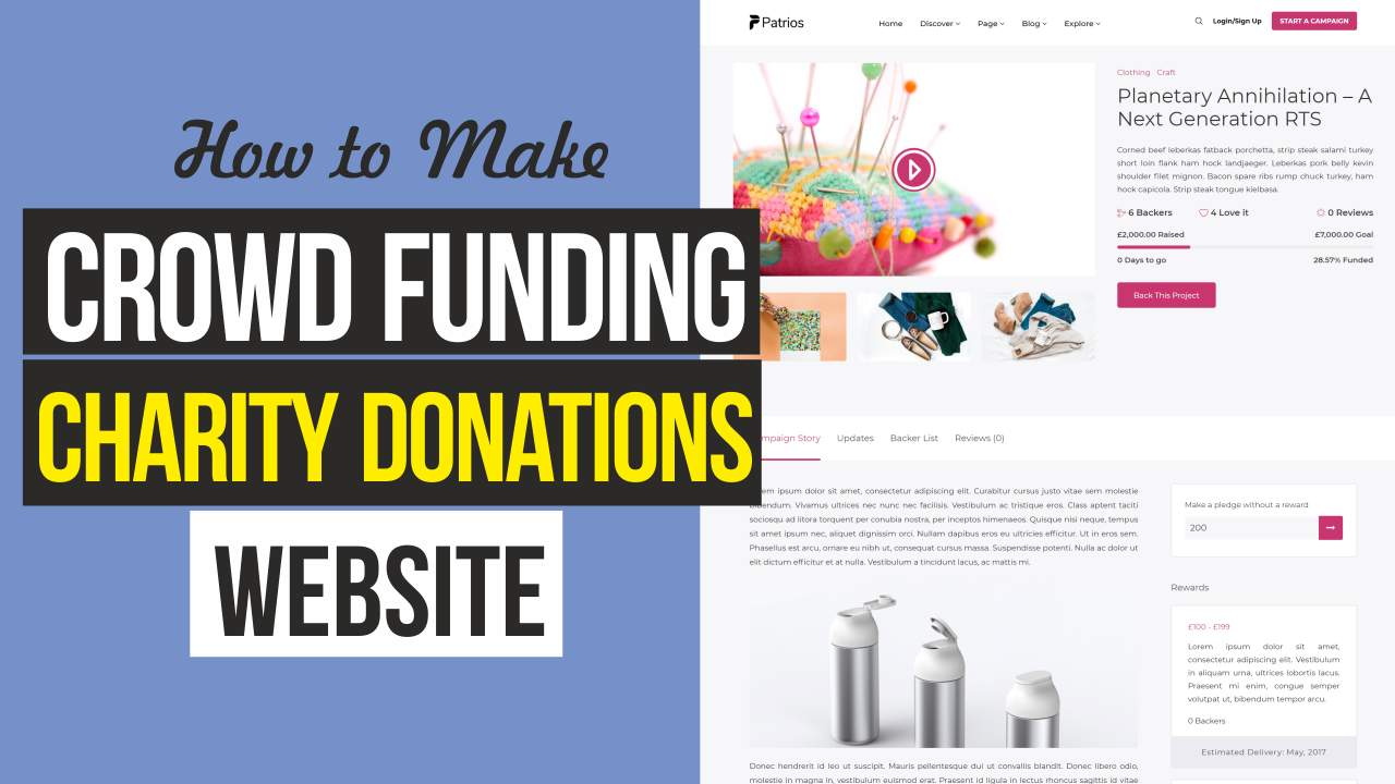 How to Create Crowdfunding, Fundraising & Charity Donations Website like Kickstarter With WordPress